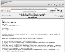 Petycja - zrzut ekranu