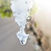 Topniejący śnieg - zwisająca kropla